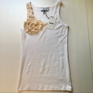 Cotton tank top with vintage lace detail